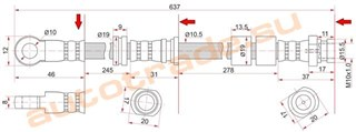 Шланг тормозной Mitsubishi Lancer X Иркутск